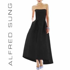 Alfred Sung Maxi Dress Gown Size 2 Black Strapless
